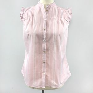 [GAP] Pink and White Striped Sleeveless Button Up